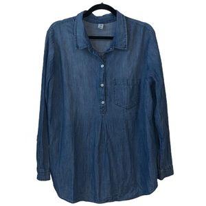 Old Navy Maternity Chambray 3/4 Button Shirt Sz XL
